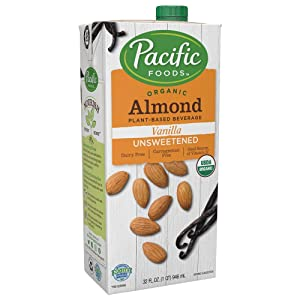 Pacific Foods Organic Almond Non-Dairy Beverage, Unsweetened Vanilla, 32-Ounce, (Pack of 12) Keto Friendly