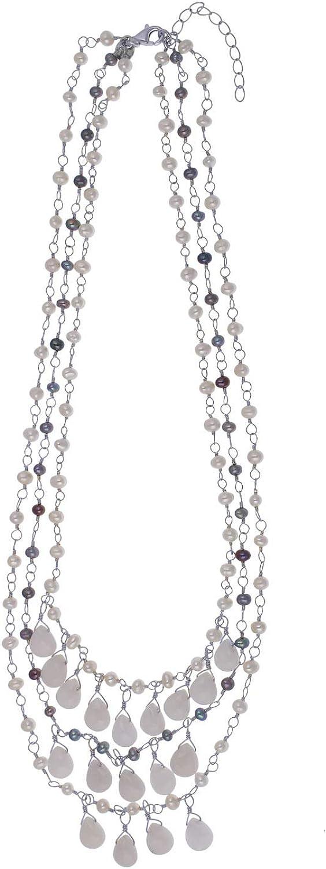 Jewel24 - Collar de cascada de plata de ley 925 con jade y cuentas, azul, blanco, multi fila, 45 – 50 cm