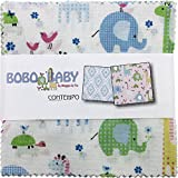 quilting fabric with 5 stars - Maggie and Flo Bobo Baby 5X5 Pack 42 5-inch Squares Charm Pack Benartex