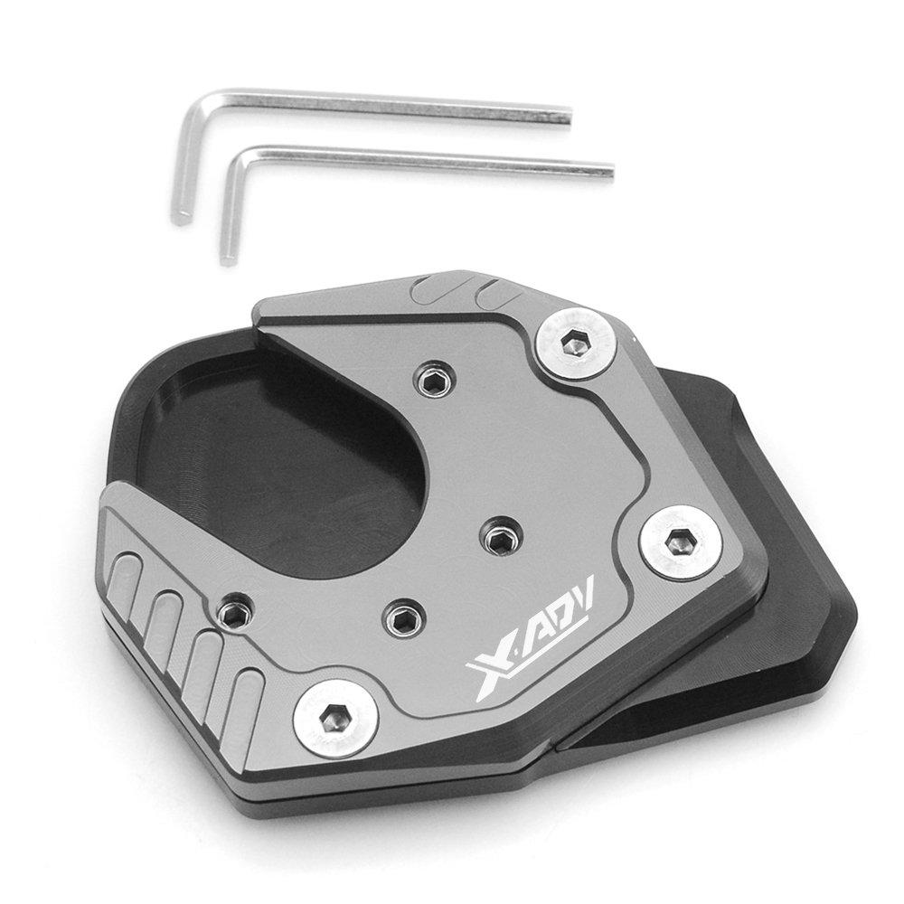 X-ADV X ADV Motorrad CNC Aluminium Seitenstä nder Vergrö ß ern Seitenstä nder Platte fü r Honda X-ADV X ADV 750 2017 2018 (Schwarz+Grau) MZ-STORE