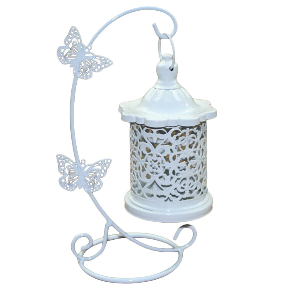 1xToruiwa Candle Holder Hollow Out Hanging Tealight Lanterns Lamp White Decorative Candlestick Craft with Butterfly Hook for Wedding Festival Home Table Hotel Decoration