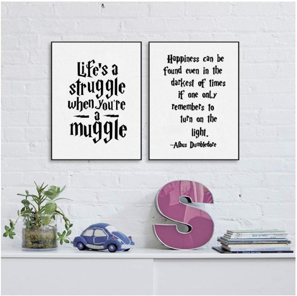 dayanzai Albus Dumbledore Wall Art Decor Canvas Prints Poster, Harry Potter Quote Canvas Painting Home Kids Room Decoration 30X42Cmx2Pcs No Frame