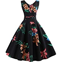 Promotions Women Sleeveless Floral Print Rockabilly Evening Party Dress Swing Dress