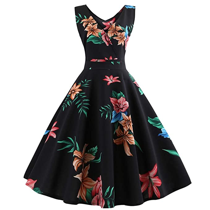 70bfba750bc Womens Retro 50s V Neck Floral Print Dresses 1950s Vintage Classy Hepburn  Style Sleeveless A-Line Swing Dress for Rockabilly Cocktail Evening Party  Club ...