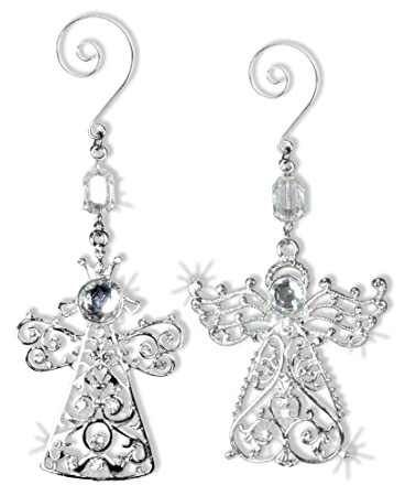 angel decorations set of 2 crystal and metal angel decorations sparkling crystals and filigree - Angel Decorations