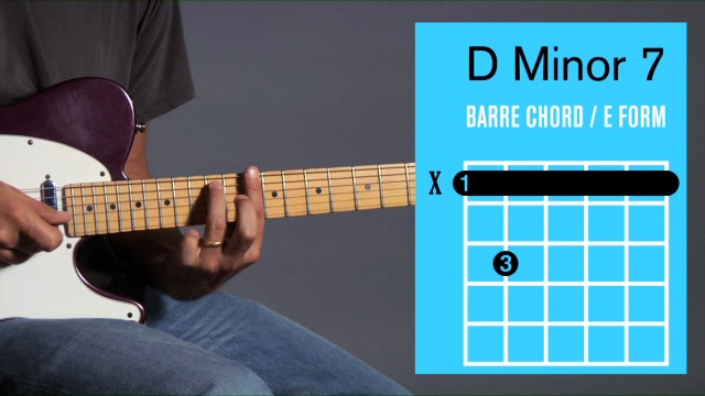 How To Play A D Minor 7 Barre Chord On Guitar