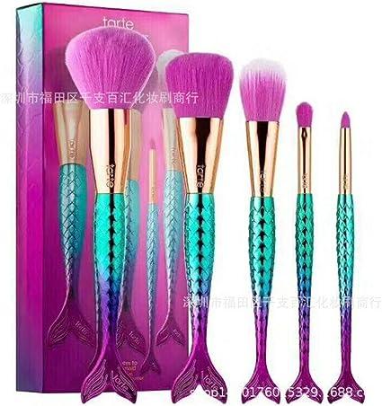 set de brochas para maquillaje 5 palos estrella cola de pez hada serie, cepillo de pescado: Amazon.es: Belleza