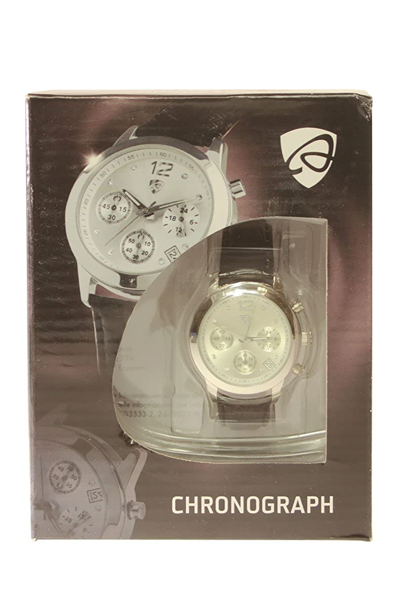 Reloj de pulsera para mujer auriol/cronógrafo - Diseño Elegante - Cuerpo de acero inoxidable con correa de cuero (negro): Amazon.es: Relojes