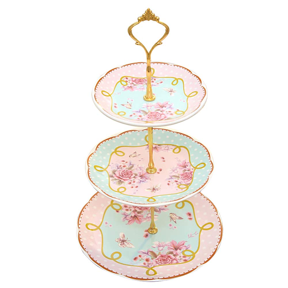 B.Hamster Cupcake Stands Elegant Embossed 3-tier (Pink) Ceramic Cake Stand, Cupcake Stand, Tea Party Pastry Serving platter, Food Display, Stand, Home Decor, Dessert Stand by B.Hamster