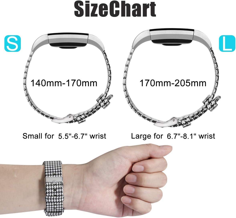 Respirant Tiss/é en Tissu Remplacement Bande pour Fitbit Charge 2 Tracker HUMENN Compatible pour Fitbit Charge 2 Bracelet Petit Grand