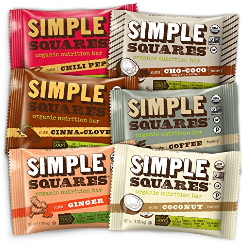 SIMPLE Squares Nutrition Bars - Whole Food Organic Paleo Nuts and Honey Bar Cookies - Yummy with Breakfast and with Coffee - no sugary dates! (1.6 oz bars) (Assortment, 6-Pack)