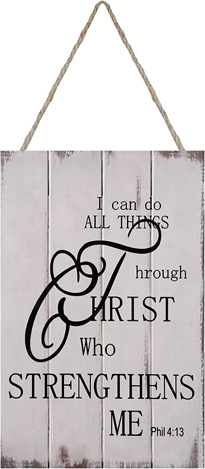 I Can Do All Things Through Christ Who Strengthens Me Christian Wall Art Religious Wood Sign Rustic Bible Verse Sign Wooden Wall Decoration Inspirational Wall Decor Rustic Handmade Wooden Plaque