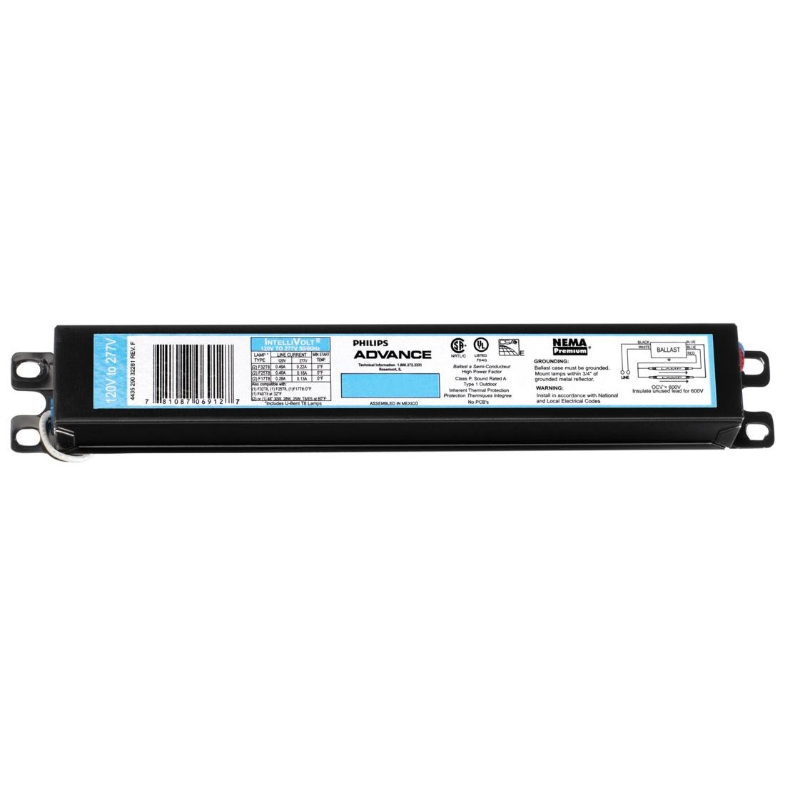 ICN-4P32-N (Previously ICN-4P32-SC) Electronic FL Ballast for 3-4 F32T8 F40T8 F17T8 Lamps Run at 120V/277V Philips NCOREJNJIJKKM4808