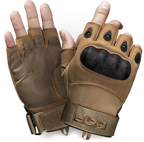 Half Finger Impact Gloves - CQR CQ-TZG11-CYT_Medium Tactical Half-Finger Gloves EDC Outdoor Airsoft Shooting Motorcycle 100% Full Refund TZG11