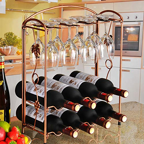 KerKoor 2 Tier Stackable Wine Rack - Metal Countertop Bottle Holder Storage for Bar, Wine Cellar, Basement, Cabinet, Pantry, etc - Hold 8 Wine Bottles and 8 Wine Glass (Bronze-Coloured)
