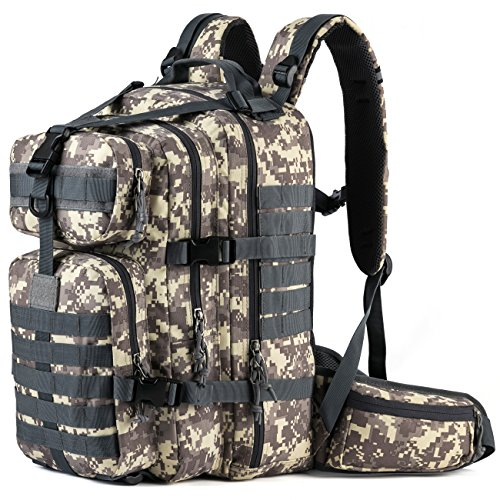 SHARKMOUTH Military Tactical Backpack 3 Day Small Assault Pack MOLLE Bag Rucksack Survival Outdoor School Daypack for Camping Hiking Hunting Climbing Travel Trekking 33L, Camo