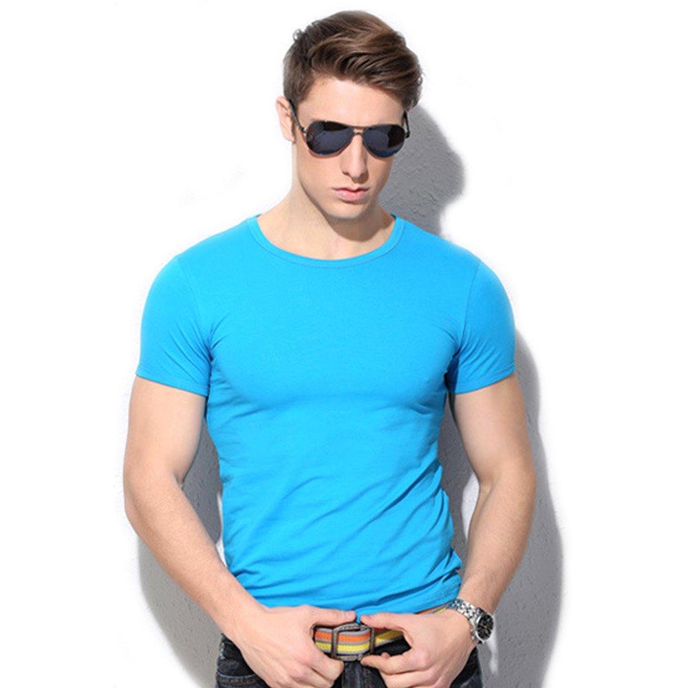 QianSheng T-shirt d'été manches courtes pour homme en modal confortable Ras du cou
