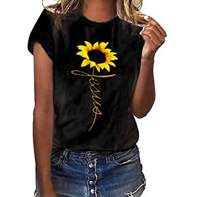 Meikosks Women's Sunflower Print T Shirt Short Sleeved Blouses Summer Graphic Tops at Women's Clothing store