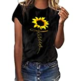 Women Short Sleeve T-shirt ❀ Ladies O-neck Sunflower Printed Tops Solid Casual Fashion Plus Size T-shirt Blouse Tops