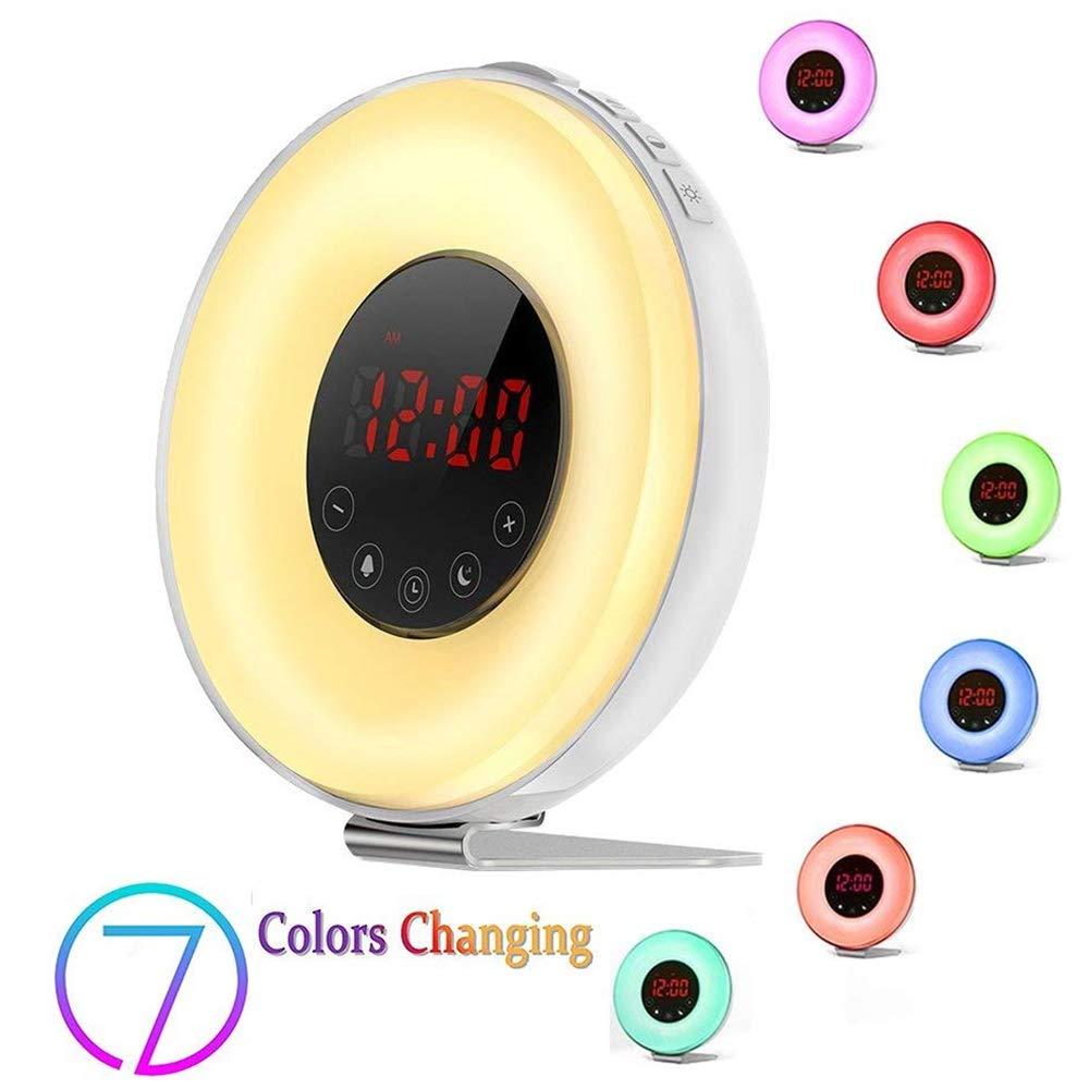 Colored Wake-up Light Alarm Clock,Weton Sunrise/Sunset Simulation Natural Sounds Alarm Clock for Kids with FM Radio &Smart Snooze Function