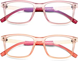 COASION 2 Pack Blue Light Blocking Glasses for Kids Teenage Boys Girls Age 5-13, Anti Glare & Eyestrain & Blu-ray Filter Computer Screen Glasses (Clear Purple+Clear Pink)