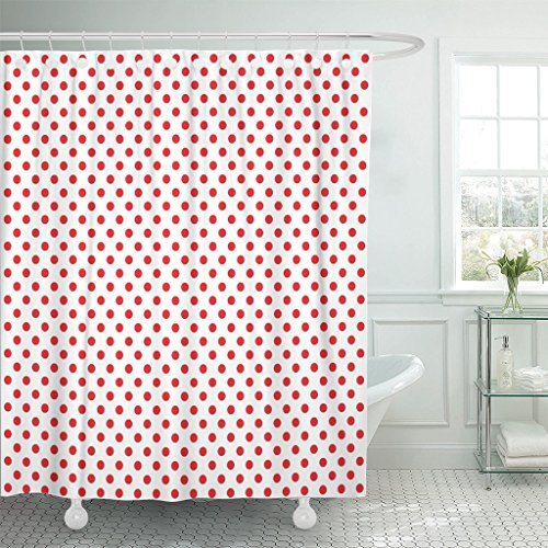 TOMPOP Shower Curtain Polkadots Pop Pattern Red Dots on White Halftone Color Comic Book Style Abstract Waterproof Polyester Fabric 60 x 72 Inches Set with Hooks