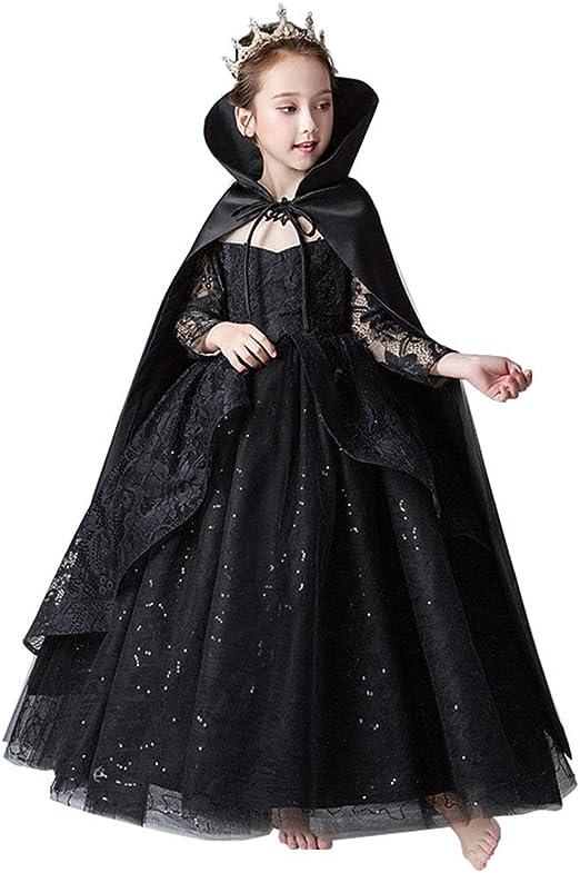 Twnhmj Chica Disfraz Reina El Mal Reina Halloween Ropa Capa De ...