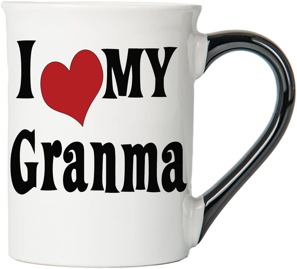 Cottage Creek Granma Cup Large 18 Ounce Ceramic I Love My Granma Coffee Mug/Grandma Gifts [White]