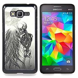/Skull Market/ - Love Death Metal Skeleton Skull White For Samsung Galaxy Grand Prime G530H G5308 - Mano cubierta de la caja pintada de encargo de lujo -