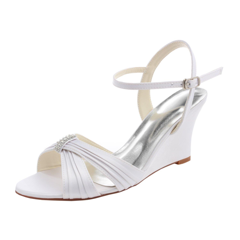 Emily Bridal Weiße Hochzeitsschuhe Silk Open Toe Strass Strass Strass Plissee Braut Wedge Sandalen 5d32c7