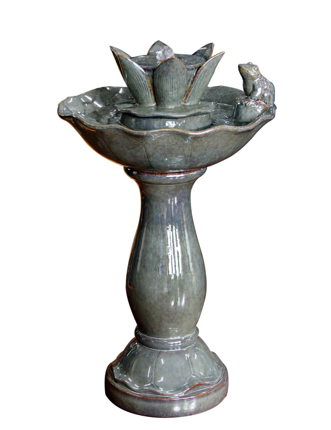 KelKay F1214107 Ceramic Frog and Lily Pad Bird Bath Fountain