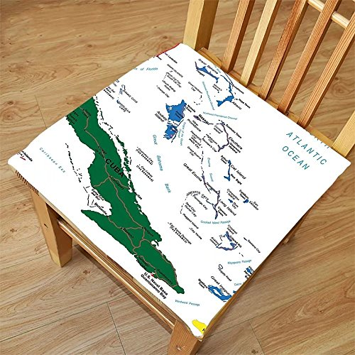 Nalahome Set of 2 Waterproof Cozy Seat Protector Cushion Wanderlust Decor Bahamas Map Beach Cayman slands Geography District Holiday Tourism Printing Size - Sunglasses Cayman