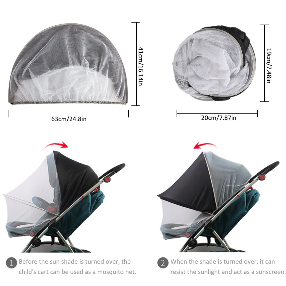 Yunt Mosquito Net for Baby Stroller,Foldable Insect Bug Net with Adjustable Sun Shade Against Mosquitoes UV, fit for Infant Carriers Stroller Cradles Car Seats Bassinets Cribs