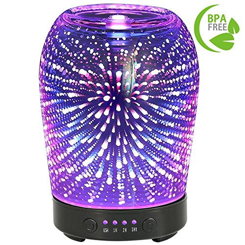 COOSA 100ml 3D Starburst Fireworks Aromatherapy Essential Oil Diffuser Cool Mist Humidifier with 4 Time Setting and 7 Color Changing LED Lights for Home Office (Multicolor)