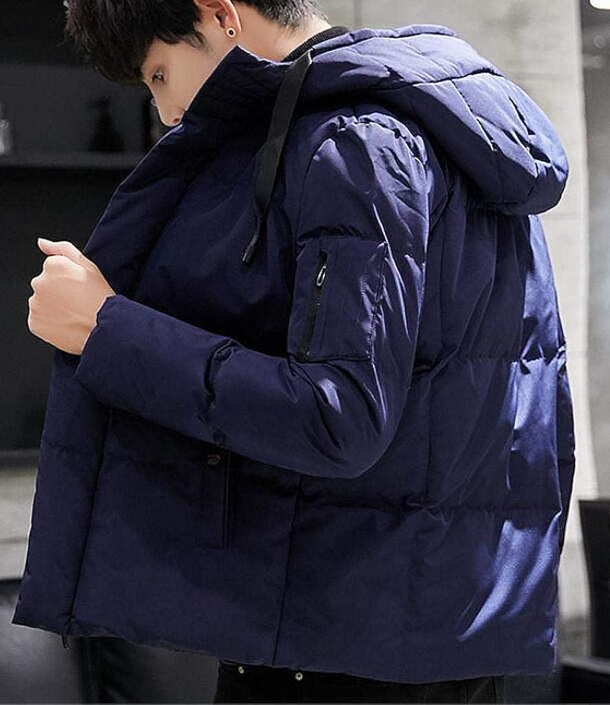 Jofemuho Men Winter Solid Thicker Full-Zip Hooded Down Quilted Coat Jacket Overcoat