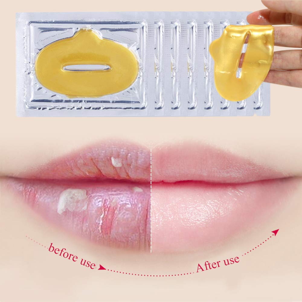 Lip Care Patches 24K Gold Golden Collagen Lip Mask for Hydrating, Moisturizing, Diluting Lip Fine Lines, Expeling Harmful Toxins (15Pack) Korean BT