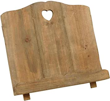 wooden recipe holder cook book stand heart cut out rustic country vintage shabby