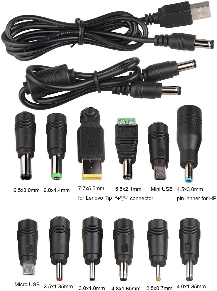 Onite DC Famale 5.5x2.1mm jack to 12 Plugs / Connectors with 2 Male to Male Cables: 5.5X2.1mm to 5.5X2.1mm, USB 2.0 to 5.5X2.1mm for Notebook Laptop AC Power Charger Adapter (12 tips +2 cables)