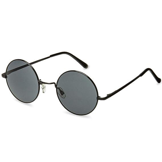 b73a1bb7cb332b CASPAR - SG038 - Lunettes de soleil rondes unisexe style hippie rétro en  métal - verres larges - plusieurs coloris, Couleur argenté miroir argenté   ...