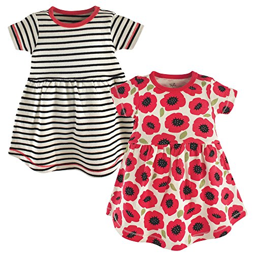 Touched by Nature Baby Girls' Organic Cotton Dress, Red Poppy Short Sleeve 2-Pack, 3 Toddler -
