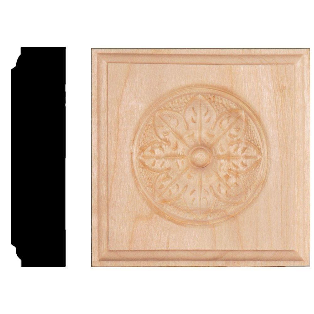 House of Fara 7/8 in. x 3-1/2 in. x 3-1/2 in. Hardwood Flower Rosette Block