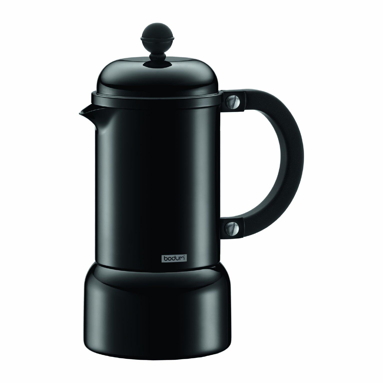 Bodum Chambord Aluminum Stovetop Espresso Maker, 6-Ounce, Black