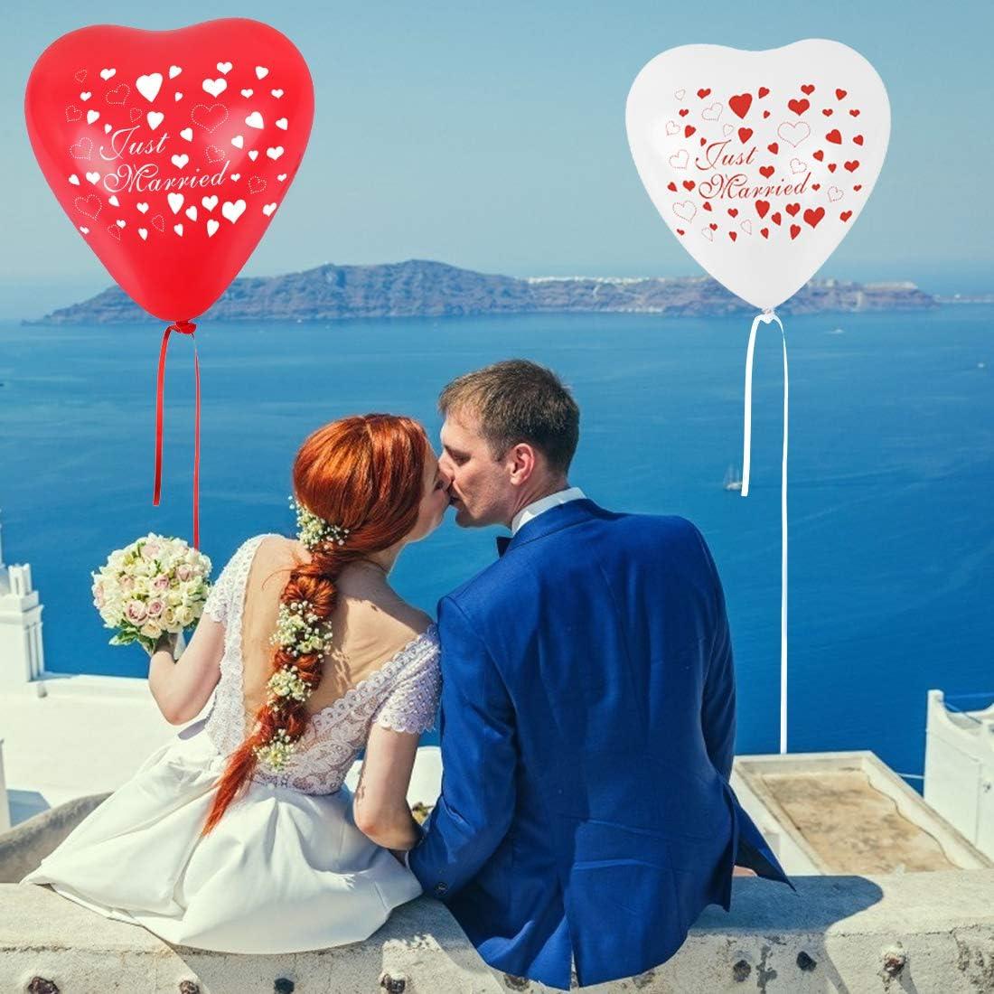 Latex Herz Ballon /Ø 30 cm Bluelves Motiv Just Married Luftballons 50 St/ück Herzluftballons Rot Wei/ß Herzballons Helium Luftballon Herz Luftballons Hochzeit