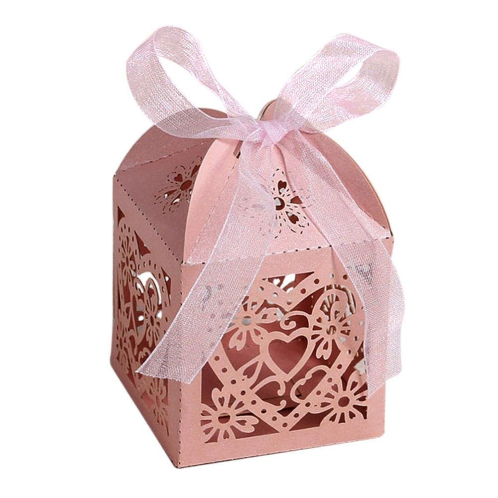 Amazon.com: 10pcs/set Love Heart Gift Boxes Party Wedding Hollow ...