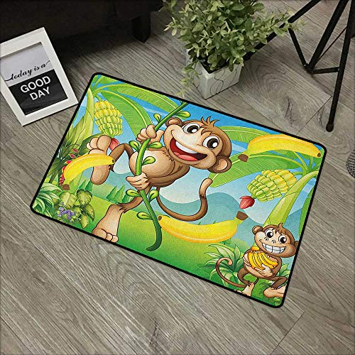 Office Door Mat Nursery,Two Monkeys Near The Banana Plant Tropical Nature Landscape Vine Funny Animals Apes, Multicolor,for Kitchen Dining Living Hallway Bathroom 35