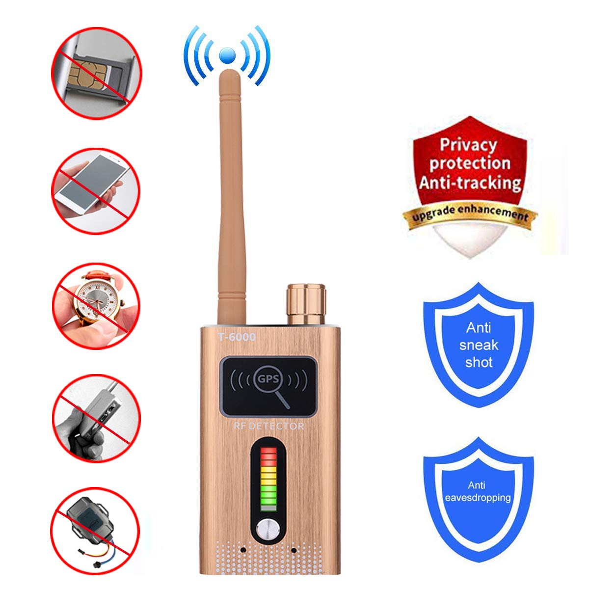 Anti-Spy Bug Detector GPS Tracking Detector Finder Radio Scanner Wireless Signal Detector Alarm by Nephon