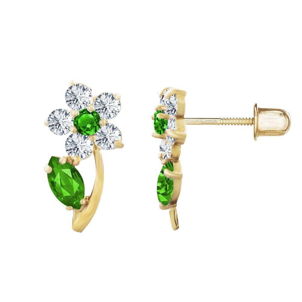 14kt Solid Gold Kids Flower Stud Screwback Earrings Stephanie Rockway GSE147ME