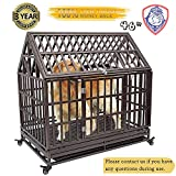 HAIGE PET Your Pet Nanny Heavy Duty Roof Dog Cage Kennel Crate Playpen Metal Strong for Medium and Large Dogs Outdoor Waterproof with Lockable Wheels, Easy to Assemble, 46''