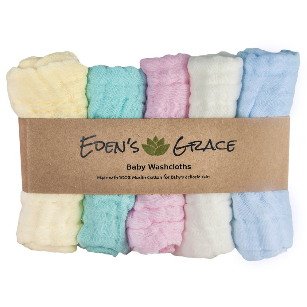 Baby Washcloths -100% Muslin Cotton (5-pack) By Eden's Grace - Extra Large, Multi Purpose, Reusable Infant Towels- Soft and Absorbent Washcloth Set- Perfect Baby Shower Gift- Multi Color by Eden's Grace