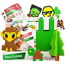 Pinblock Freestyle ''Nature'' - Creative Smart Building Set for Boys and Girls with 1000 Interlocking and Rotating Blocks(200pcs each - Blue, Brown, Dark Red, Dark Yellow, Dark Green)